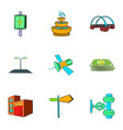 industry facilities icons set cartoon style vector image vector image