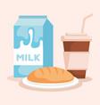 milk box with coffee drink vector image vector image