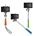 Monopods With Pnones For Selfie vector image vector image