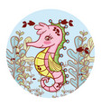 nice seahorse animal with seaweed animal vector image
