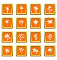 palm tree icons set orange vector image vector image