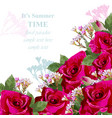 pink roses flower card delicate floral vector image