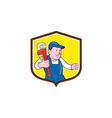 Plumber Holding Monkey Wrench Shield Cartoon vector image vector image