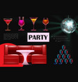 realistic night dance party composition vector image vector image