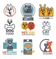 set animal labels and stickers vector image vector image