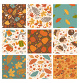 set nine cute autumn seamless patterns vector image vector image