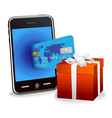 smart phone with credit card vector image vector image