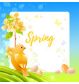 spring frame with cherry blossom flower canary vector image vector image