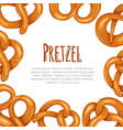 square card with cartoon pretzels and place vector image vector image