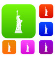 statue of liberty set color collection vector image vector image