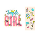 super girl lettering with girly doodles vector image vector image