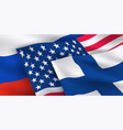 usa russian federation finland flags vector image