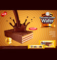 wafer with pouring chocolate ads background vector image