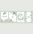 wedding greenery posters elegant floral frames vector image