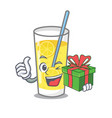 with gift lemonade mascot cartoon style vector image