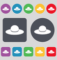 Woman hat icon sign A set of 12 colored buttons vector image vector image