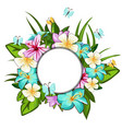 wreath of different flowers leaves butterflies vector image vector image