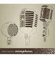 retro set microphones in doodle style vector image