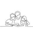 grandmother reading book with her grandchildren vector image