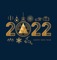 2022 happy new year greeting card abstract icons vector image