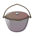 aluminium camp fire cauldron icon cartoon style vector image