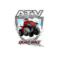 atv off-road impossible places with red quadbike vector image vector image
