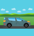 car in the background of nature landscape vector image vector image