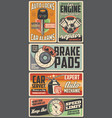 car spare parts engine key brakes auto service vector image vector image