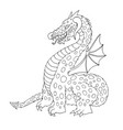 cartoon funny dragon with horns and wings vector image
