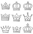 crown king and queen style doodle vector image vector image