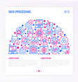 data processing concept in half circle vector image vector image