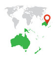 detailed map of australia and oceania world map vector image vector image