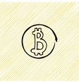 doodle coin Bitcoins black on a yellow vector image