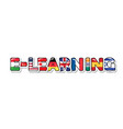 e-learning inscription flags countries that vector image