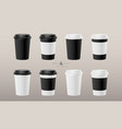 eight paper hot cup coffee set vector image