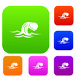 foamy wave set collection vector image vector image