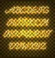 glowing yellow neon uppercase script font vector image vector image