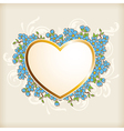 golden heart and blue flowers vector image