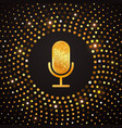 golden microphone icon on abstract gold halftone vector image vector image