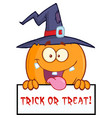 happy witch pumpkin over a blank sign with text vector image vector image