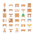 home interior flat icons vector image