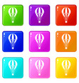 hot air striped balloon icons 9 set vector image vector image