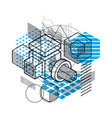 isometric abstract background with linear vector image vector image
