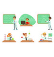 kids doing science research in school science vector image