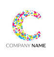letter c logo with blue yellow red particles vector image