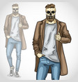 man with skull and beard and moustaches vector image vector image