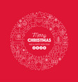 merry christmas greeting text wreath circle on vector image