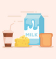 milk box with food products vector image vector image