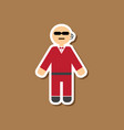 paper sticker on stylish background male guard vector image vector image
