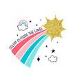 rainbow and slogan vector image